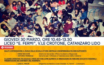 La sfida della comunità educante in Calabria: conferenza 30 marzo, ore 10.45, Istituto E.Fermi- Catanzaro Lido