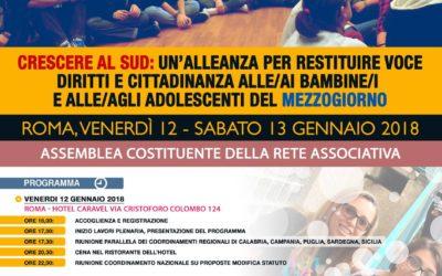 Assemblea costituente di Crescere al Sud: Roma, 12/13 gennaio 2018